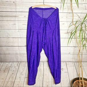 Purple Harem Pants Handmade Drawstring Waist